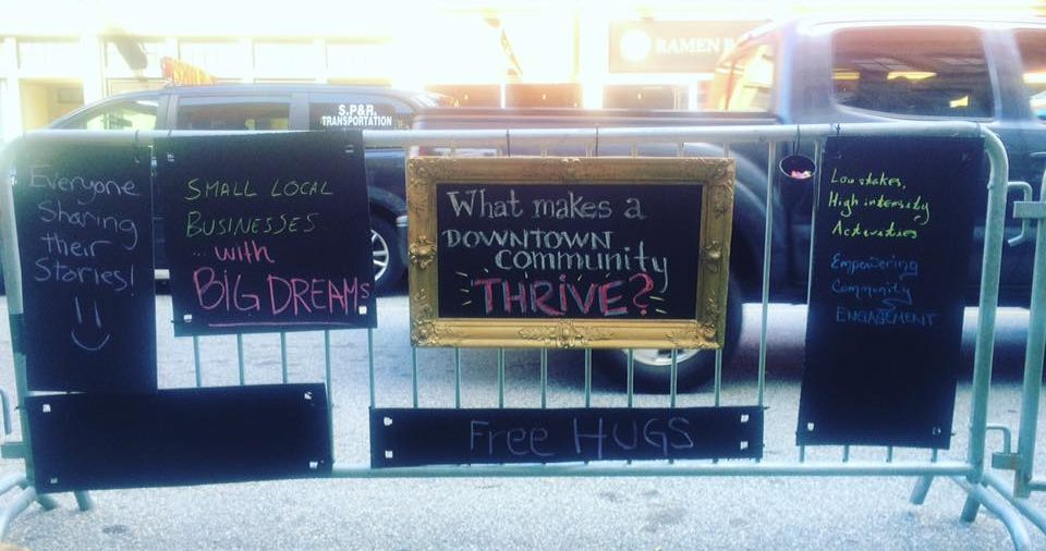 "Visitors left messages about ""What makes a downtown community thrive?"" Photo by Christine Bruins."